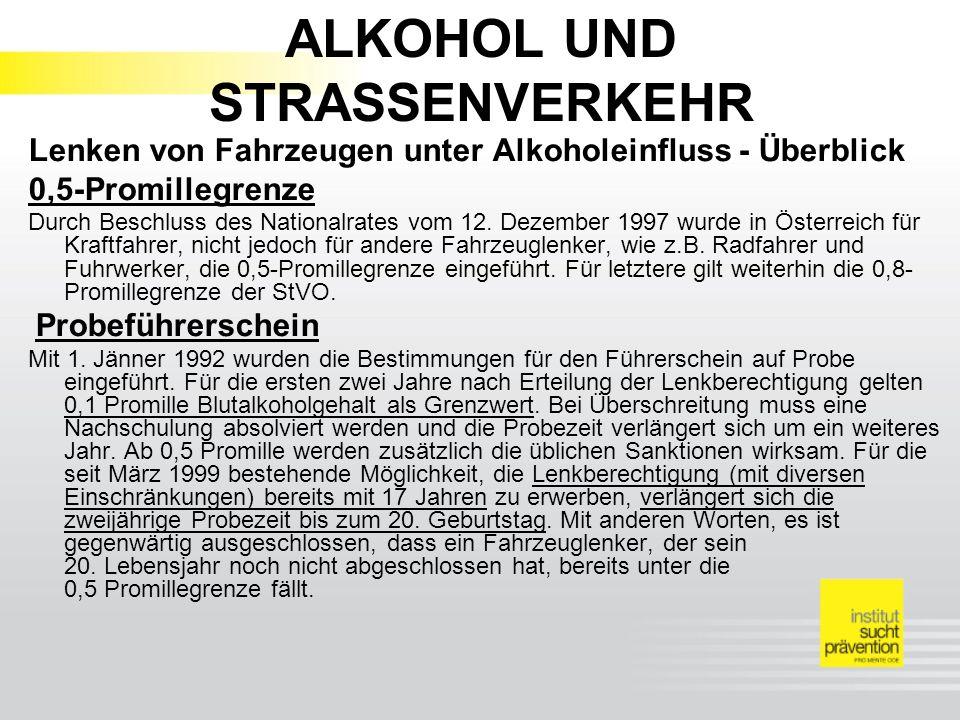 ALKOHOL UND STRASSENVERKEHR Lenken von Fahrzeugen unter Alkoholeinfluss - Überblick 0,5-Promillegrenze Durch Beschluss des Nationalrates vom 12.