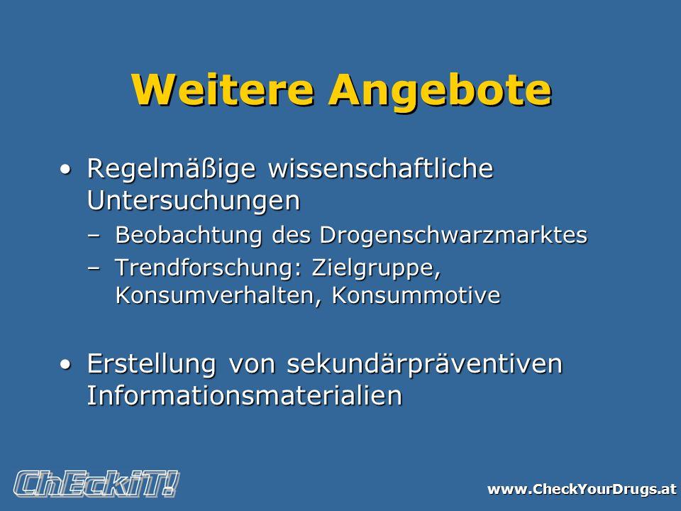 www.CheckYourDrugs.at Weitere Angebote Regelmäßige wissenschaftliche UntersuchungenRegelmäßige wissenschaftliche Untersuchungen –Beobachtung des Droge