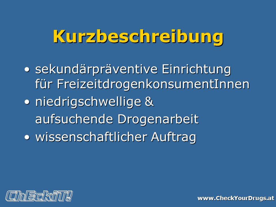 www.CheckYourDrugs.at Kurzbeschreibung sekundärpräventive Einrichtung für FreizeitdrogenkonsumentInnensekundärpräventive Einrichtung für Freizeitdroge