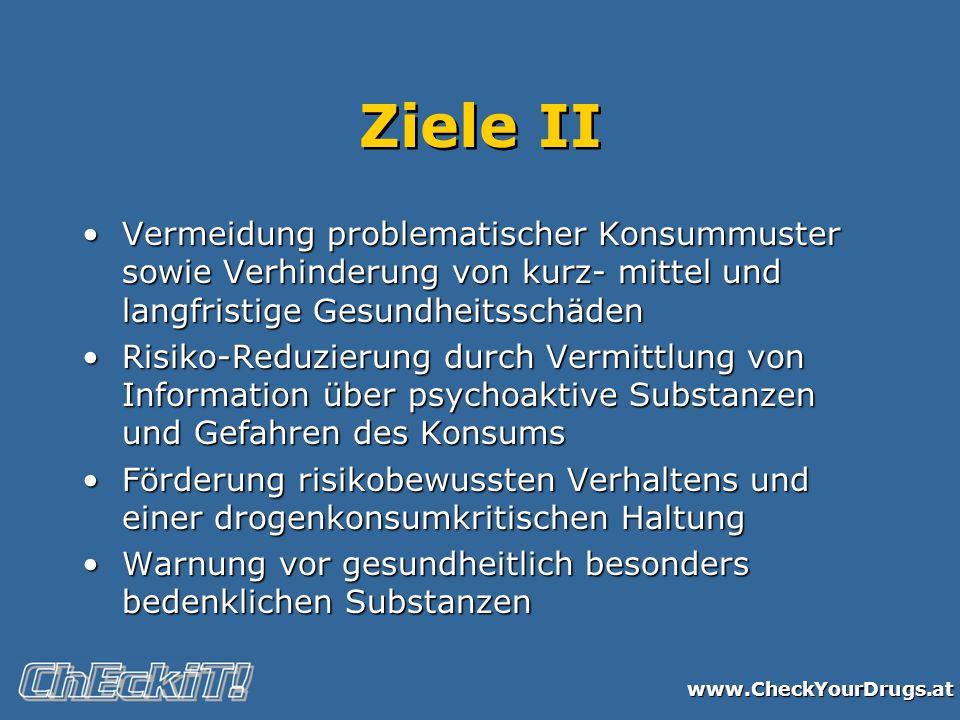 www.CheckYourDrugs.at Ziele II Vermeidung problematischer Konsummuster sowie Verhinderung von kurz- mittel und langfristige GesundheitsschädenVermeidu