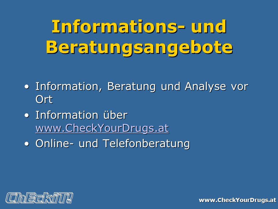 www.CheckYourDrugs.at Informations- und Beratungsangebote Information, Beratung und Analyse vor OrtInformation, Beratung und Analyse vor Ort Informati
