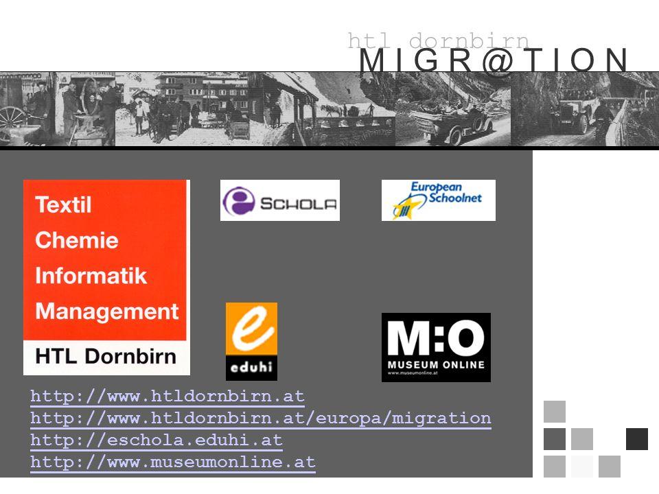 htl dornbirn M I G R @ T I O N http://www.htldornbirn.at http://www.htldornbirn.at/europa/migration http://eschola.eduhi.at http://www.museumonline.at