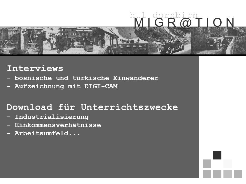 htl dornbirn M I G R @ T I O N Download für Unterrichtszwecke - Industrialisierung - Einkommensverhätnisse - Arbeitsumfeld...