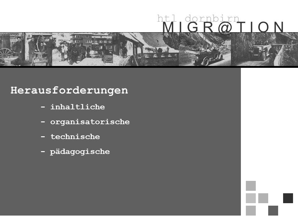 htl dornbirn M I G R @ T I O N Herausforderungen - inhaltliche - organisatorische - technische - pädagogische