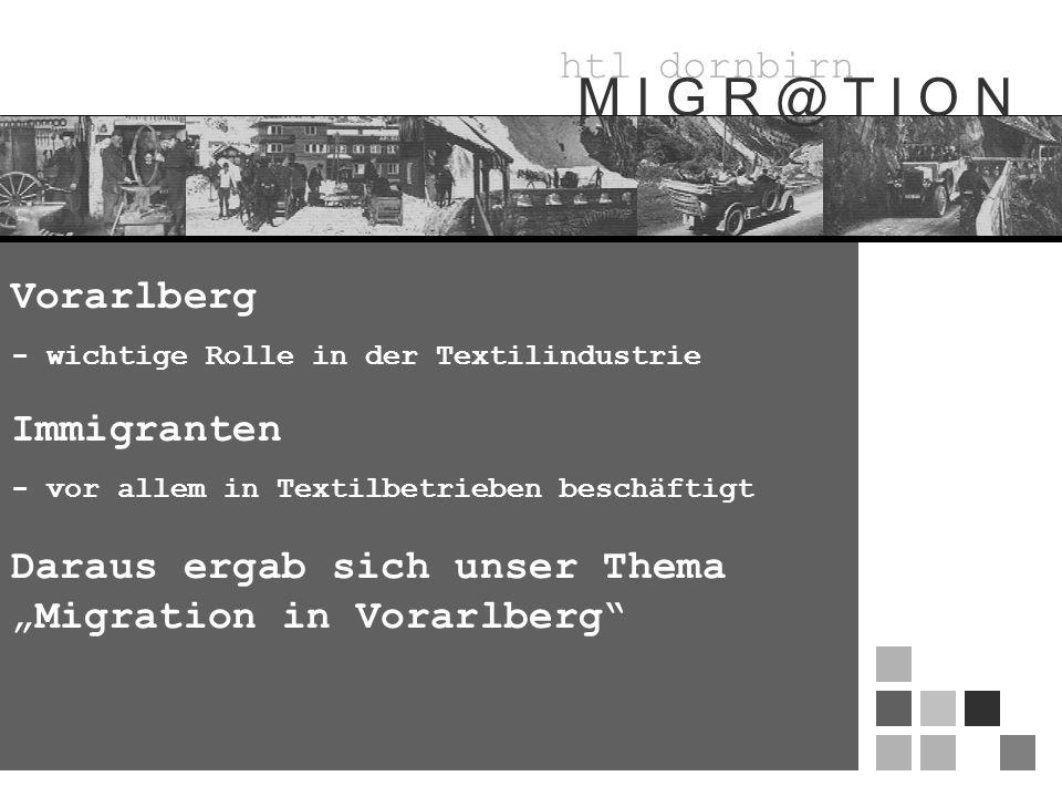htl dornbirn M I G R @ T I O N Vorarlberg - wichtige Rolle in der Textilindustrie Immigranten - vor allem in Textilbetrieben beschäftigt Daraus ergab sich unser Thema Migration in Vorarlberg