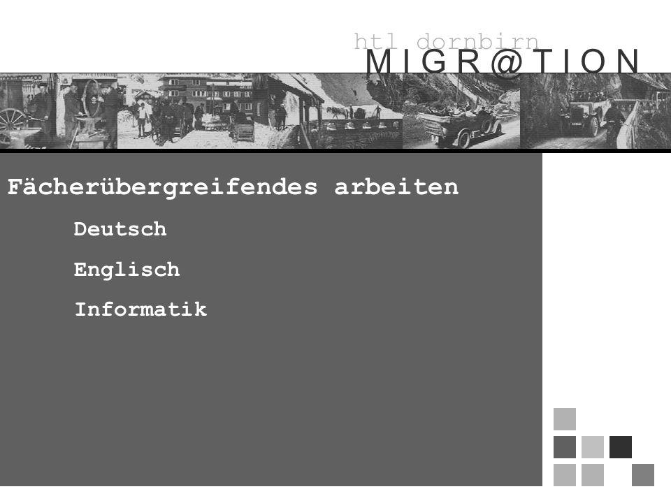 htl dornbirn M I G R @ T I O N Fächerübergreifendes arbeiten Deutsch Englisch Informatik