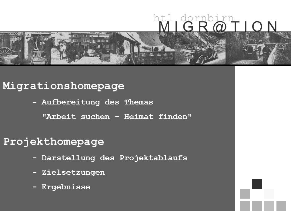 htl dornbirn M I G R @ T I O N Migrationshomepage - Aufbereitung des Themas Arbeit suchen - Heimat finden Projekthomepage - Darstellung des Projektablaufs - Zielsetzungen - Ergebnisse