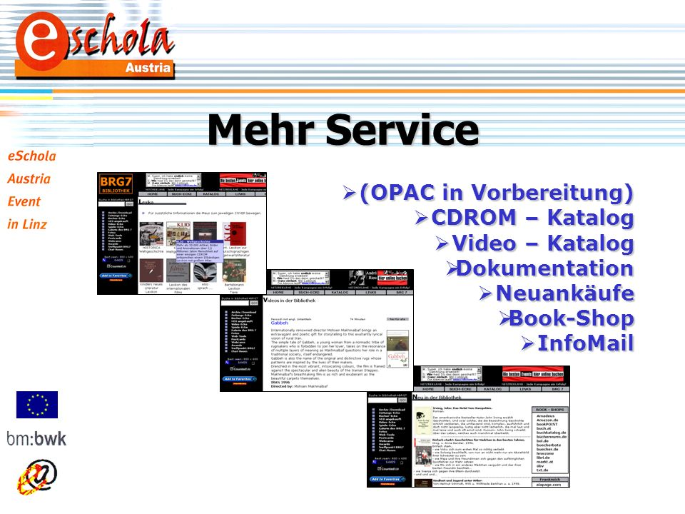 Mehr Service (OPAC in Vorbereitung) (OPAC in Vorbereitung) CDROM – Katalog CDROM – Katalog Video – Katalog Video – Katalog Dokumentation Dokumentation Neuankäufe Neuankäufe Book-Shop Book-Shop InfoMail InfoMail