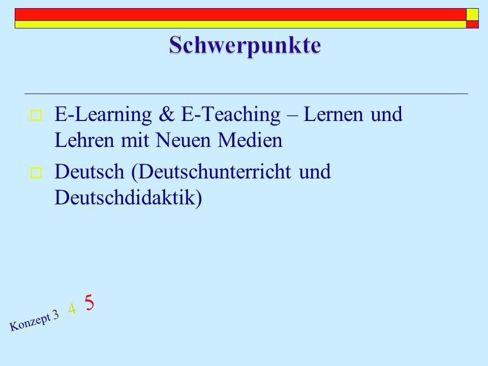 Methodenvielfalt im Unterricht (e-Learning, Lesen in allen Fächern) Förderung von Selbstständigkeit und Eigenverantwortung der Lernenden (Offene Lernformen) Fächerverbindendes Arbeiten (Lehrerteams) Intermedialität (Verknüpfung unterschiedlicher Medien) Sprachkompetenz (in allen Fächern, Textverständnis, Informationskompetenz) Kooperation zwischen Lehrenden (Lehrerteams) Beitrag zur Schulentwicklung (Teil eines pädagogischen Konzepts) Konzept 3 4 5