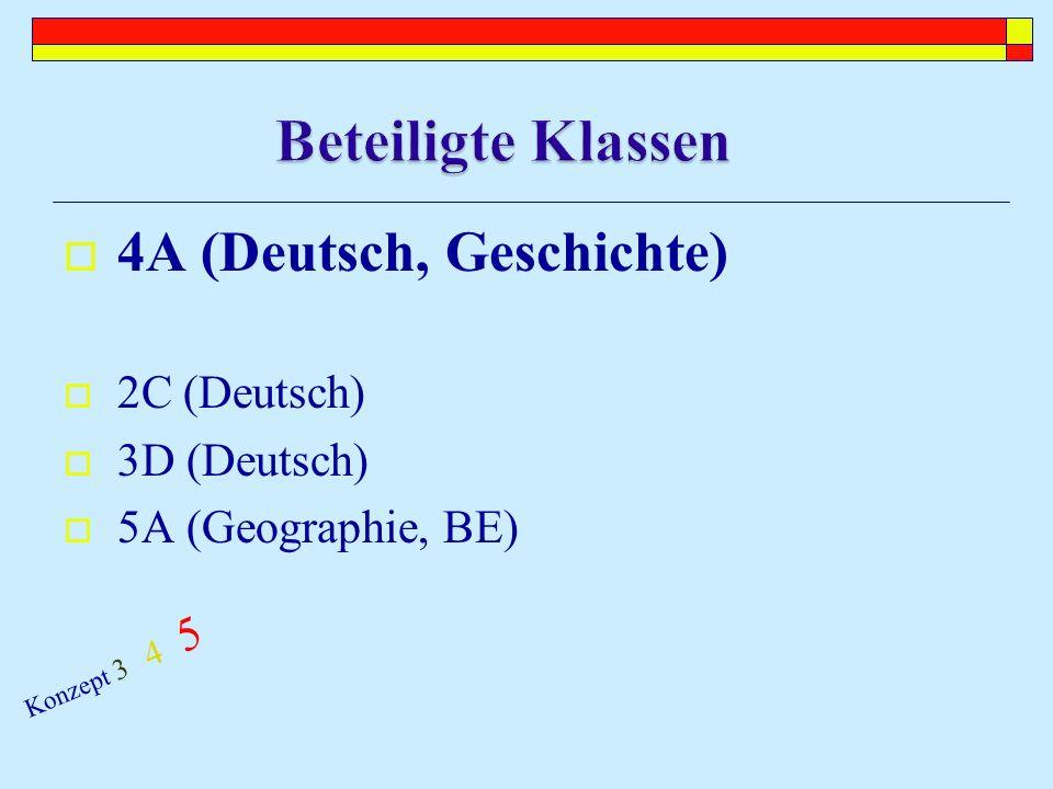 4A (Deutsch, Geschichte) 2C (Deutsch) 3D (Deutsch) 5A (Geographie, BE) Konzept 3 4 5