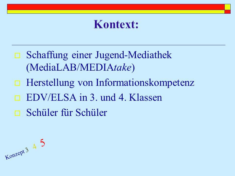 Schaffung einer Jugend-Mediathek (MediaLAB/MEDIAtake) Herstellung von Informationskompetenz EDV/ELSA in 3.