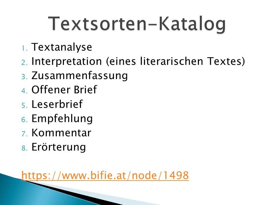 1.Textanalyse 2. Interpretation (eines literarischen Textes) 3.