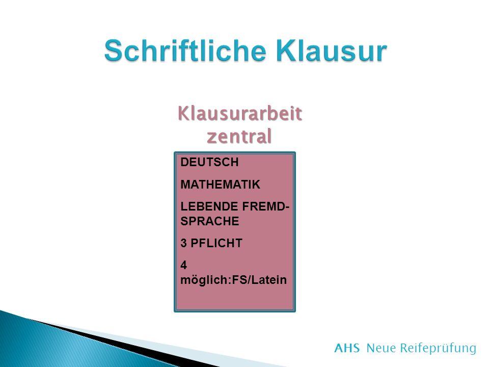 DEUTSCH MATHEMATIK LEBENDE FREMD- SPRACHE 3 PFLICHT 4 möglich:FS/Latein Klausurarbeitzentral AHS Neue Reifeprüfung