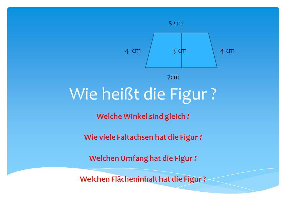 Wie heißt die Figur ? Welche Winkel sind gleich ? Wie viele Faltachsen hat die Figur ? Welchen Umfang hat die Figur ? Welchen Flächeninhalt hat die Fi