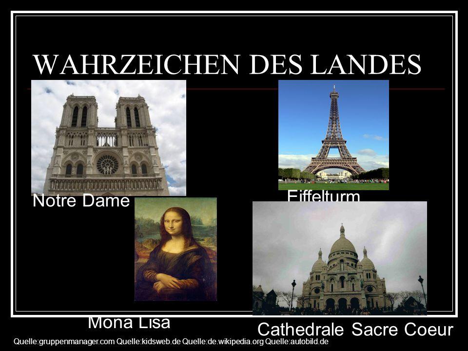 WAHRZEICHEN DES LANDES Notre Dame Eiffelturm Mona Lisa Cathedrale Sacre Coeur Quelle:gruppenmanager.com Quelle:kidsweb.de Quelle:de.wikipedia.org Quel
