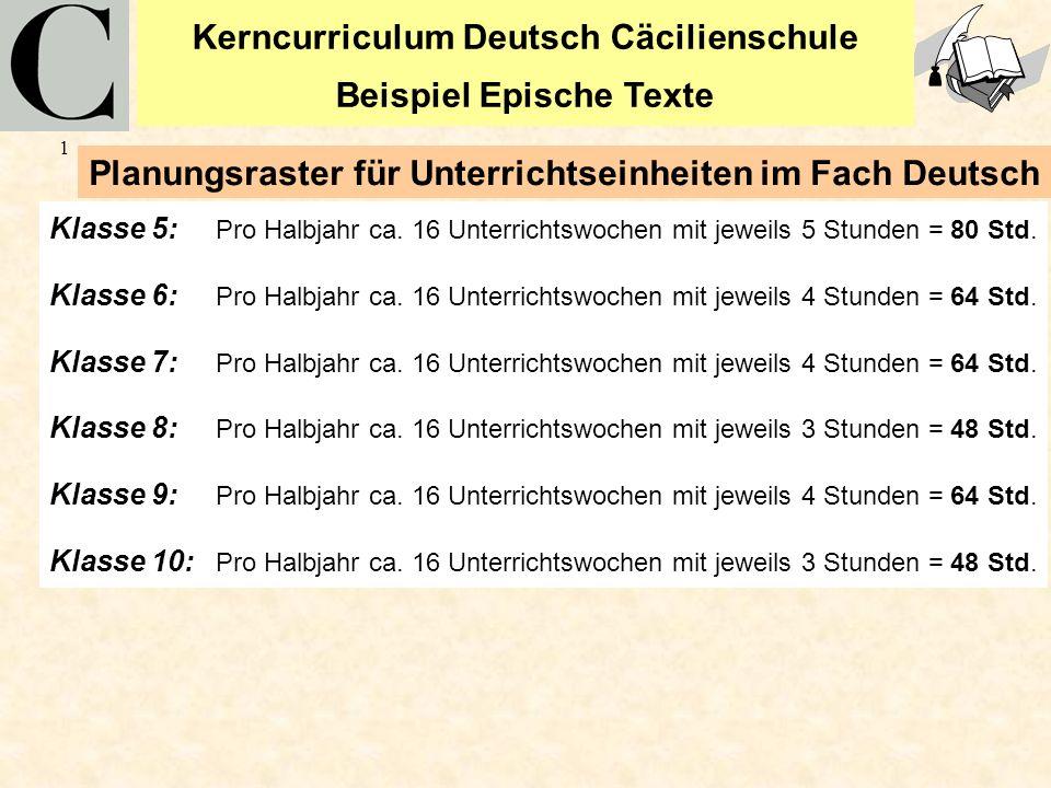 Kerncurriculum Deutsch Cäcilienschule Beispiel Epische Texte 1 Klasse 5: Pro Halbjahr ca. 16 Unterrichtswochen mit jeweils 5 Stunden = 80 Std. Klasse