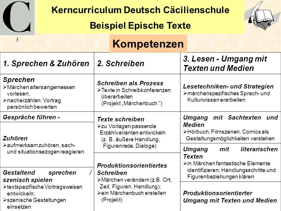 Kerncurriculum Deutsch Cäcilienschule Beispiel Epische Texte 3 1. Sprechen & Zuhören2. Schreiben 3. Lesen - Umgang mit Texten und Medien Sprechen Märc