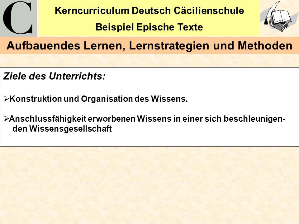 Kerncurriculum Deutsch Cäcilienschule Beispiel Epische Texte 5 Ziele des Unterrichts: Konstruktion und Organisation des Wissens. Anschlussfähigkeit er