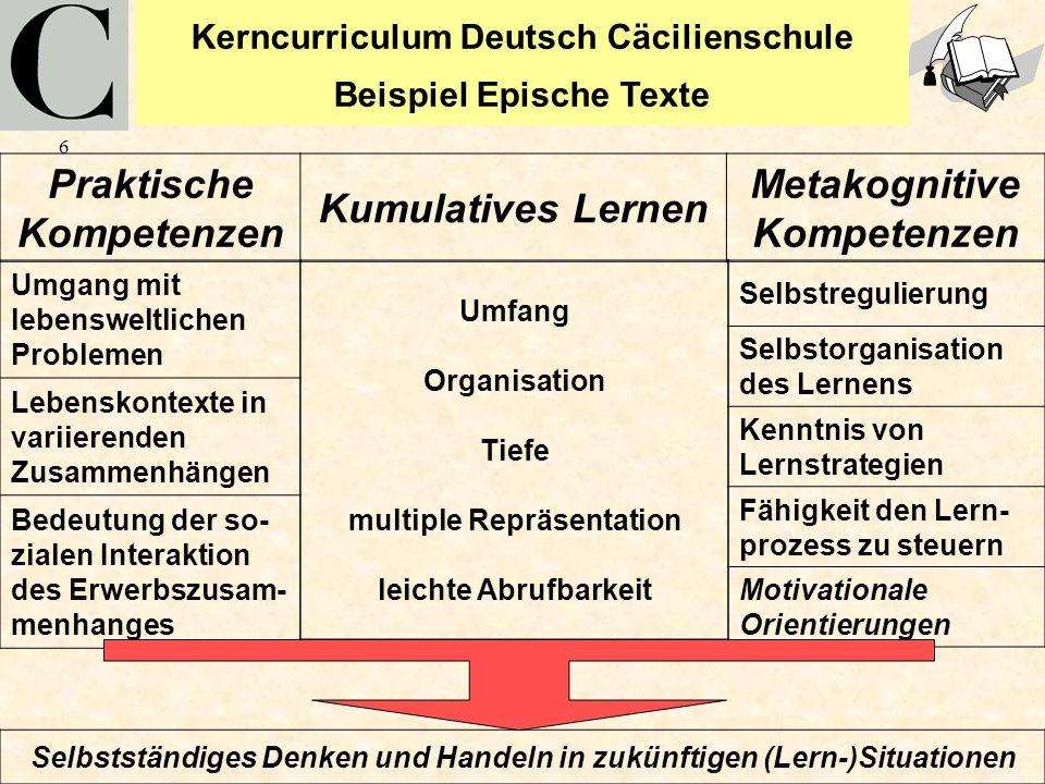Kerncurriculum Deutsch Cäcilienschule Beispiel Epische Texte 6 Praktische Kompetenzen Kumulatives Lernen Metakognitive Kompetenzen Umgang mit lebenswe