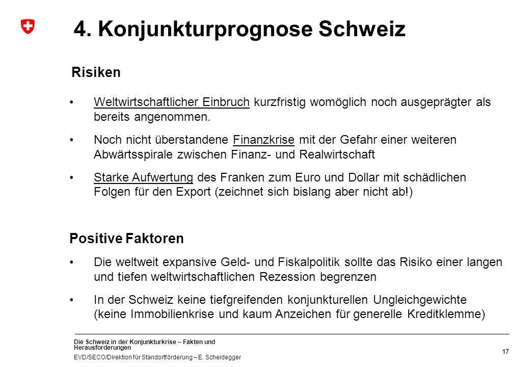 Die Schweiz in der Konjunkturkrise – Fakten und Herausforderungen EVD/SECO/Direktion für Standortförderung – E. Scheidegger 17 4. Konjunkturprognose S