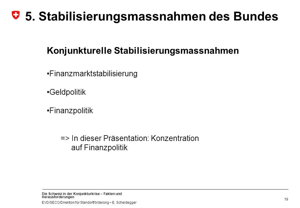 Die Schweiz in der Konjunkturkrise – Fakten und Herausforderungen EVD/SECO/Direktion für Standortförderung – E. Scheidegger 19 5. Stabilisierungsmassn
