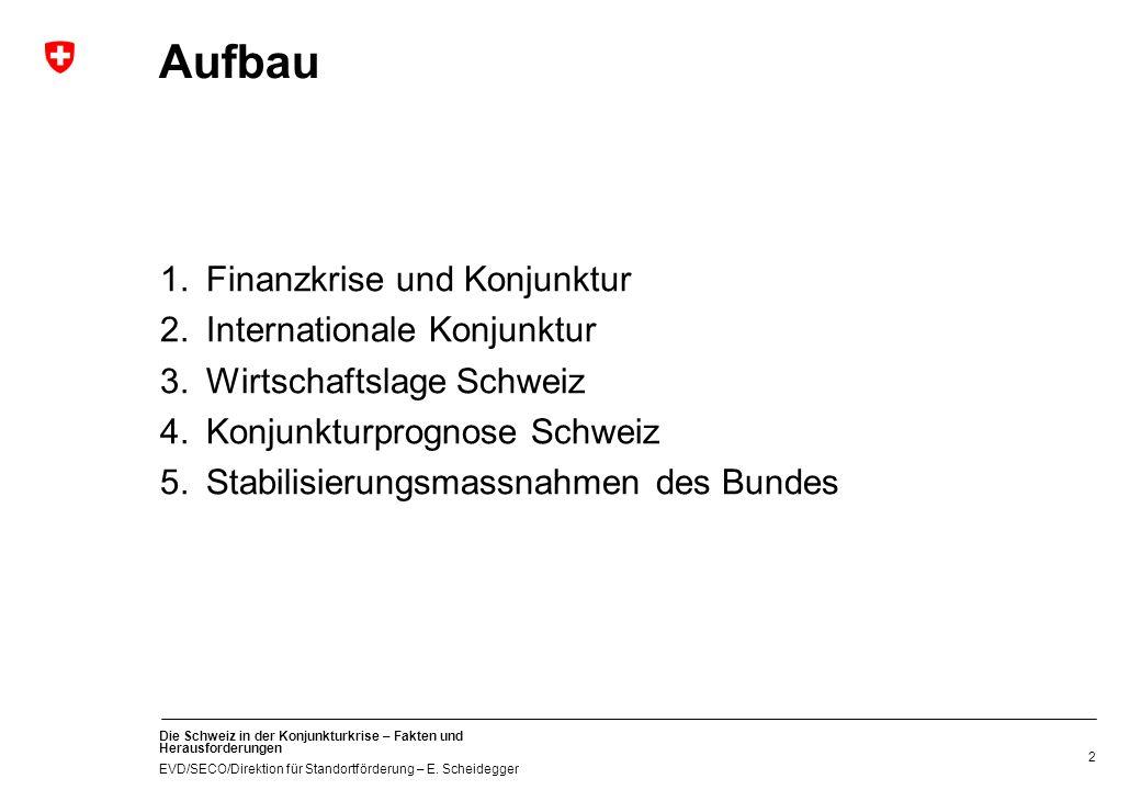 Die Schweiz in der Konjunkturkrise – Fakten und Herausforderungen EVD/SECO/Direktion für Standortförderung – E. Scheidegger 2 Aufbau 1.Finanzkrise und