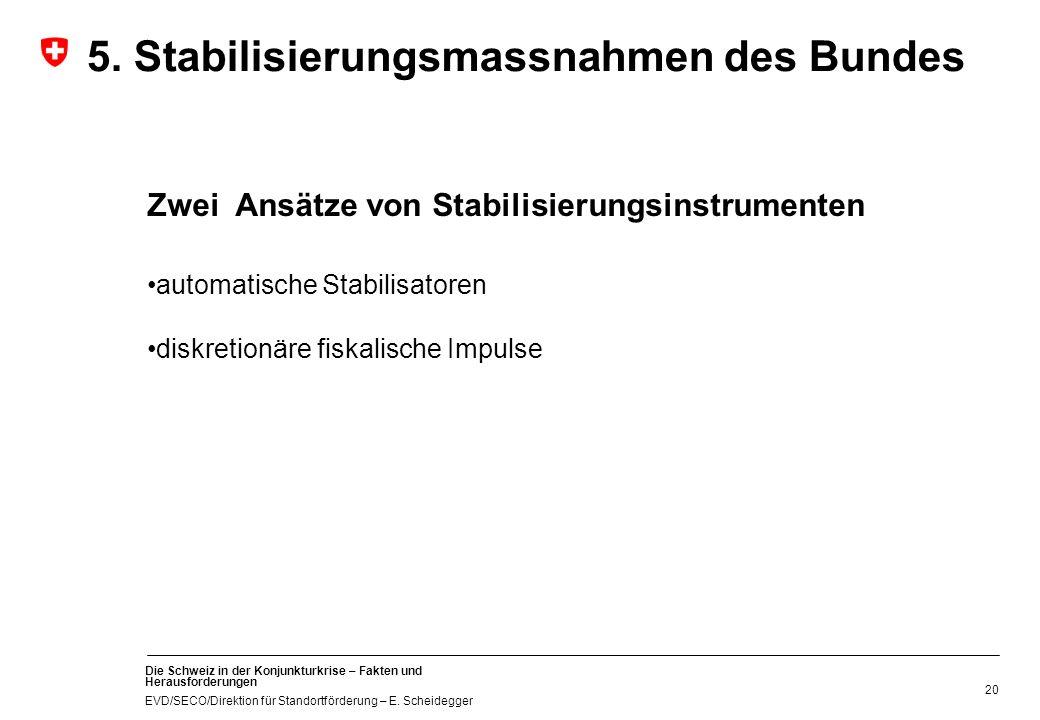 Die Schweiz in der Konjunkturkrise – Fakten und Herausforderungen EVD/SECO/Direktion für Standortförderung – E. Scheidegger 20 Zwei Ansätze von Stabil