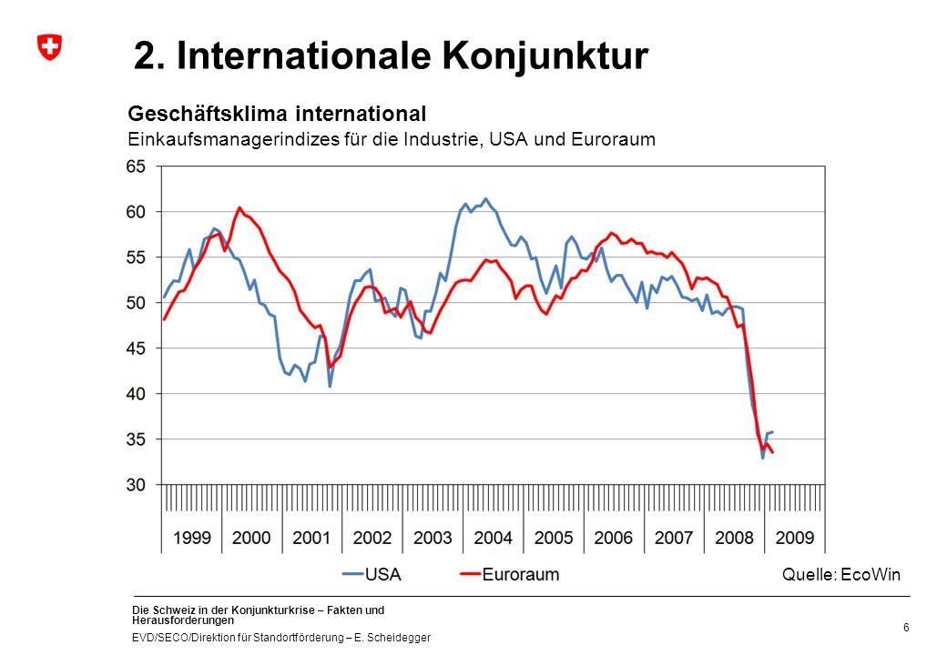 Die Schweiz in der Konjunkturkrise – Fakten und Herausforderungen EVD/SECO/Direktion für Standortförderung – E. Scheidegger 2. Internationale Konjunkt