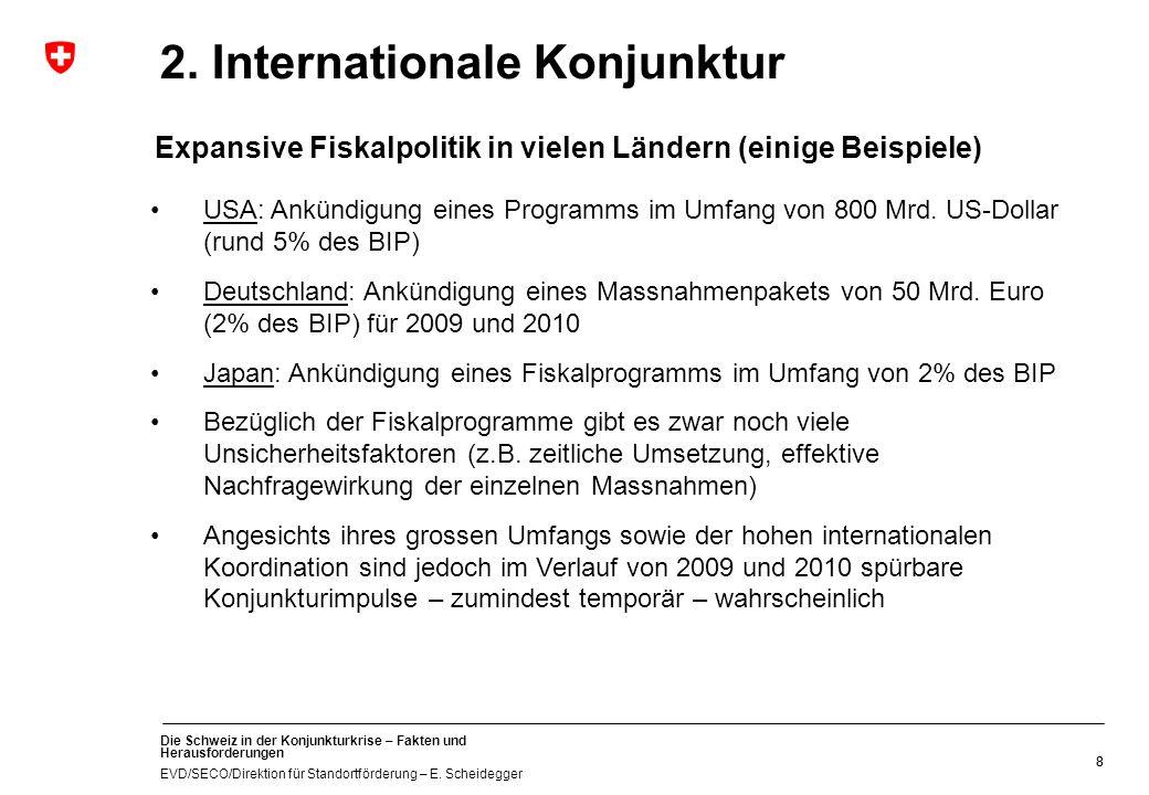 Die Schweiz in der Konjunkturkrise – Fakten und Herausforderungen EVD/SECO/Direktion für Standortförderung – E. Scheidegger 88 2. Internationale Konju