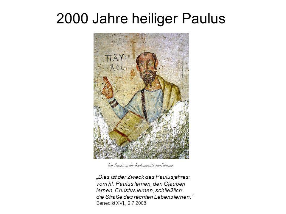 2000 Jahre heiliger Paulus Dies ist der Zweck des Paulusjahres: vom hl. Paulus lernen, den Glauben lernen, Christus lernen, schließlich: die Straße de