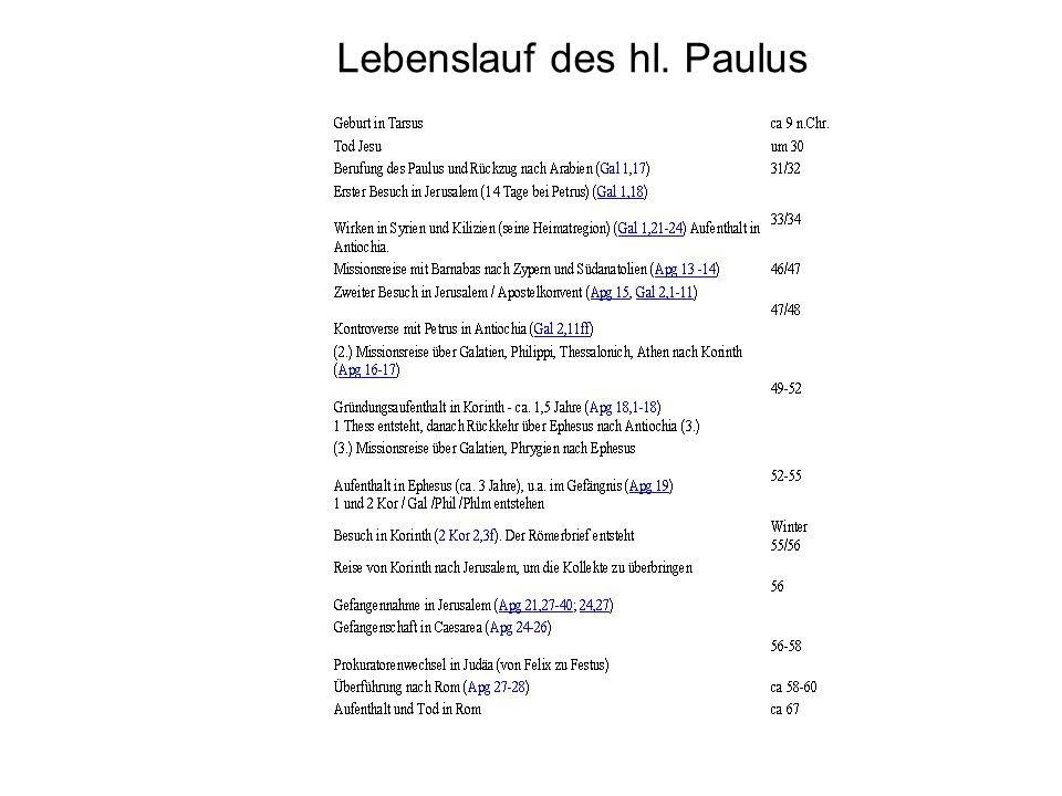 Lebenslauf des hl. Paulus
