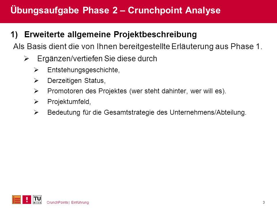 CrunchPoints | Einführung3 Übungsaufgabe Phase 2 – Crunchpoint Analyse 1)Erweiterte allgemeine Projektbeschreibung Als Basis dient die von Ihnen berei