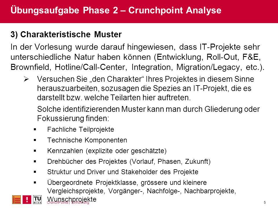 CrunchPoints | Einführung5 Übungsaufgabe Phase 2 – Crunchpoint Analyse 3) Charakteristische Muster In der Vorlesung wurde darauf hingewiesen, dass IT-