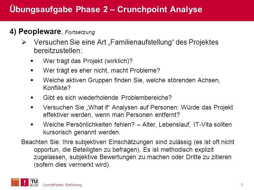 CrunchPoints | Einführung7 Übungsaufgabe Phase 2 – Crunchpoint Analyse 4) Peopleware, Fortsetzung Versuchen Sie eine Art Familienaufstellung des Proje