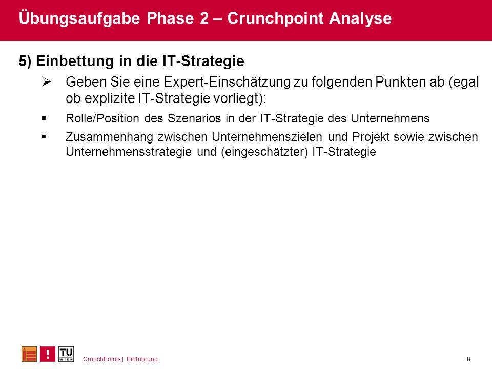 CrunchPoints | Einführung8 Übungsaufgabe Phase 2 – Crunchpoint Analyse 5) Einbettung in die IT-Strategie Geben Sie eine Expert-Einschätzung zu folgend