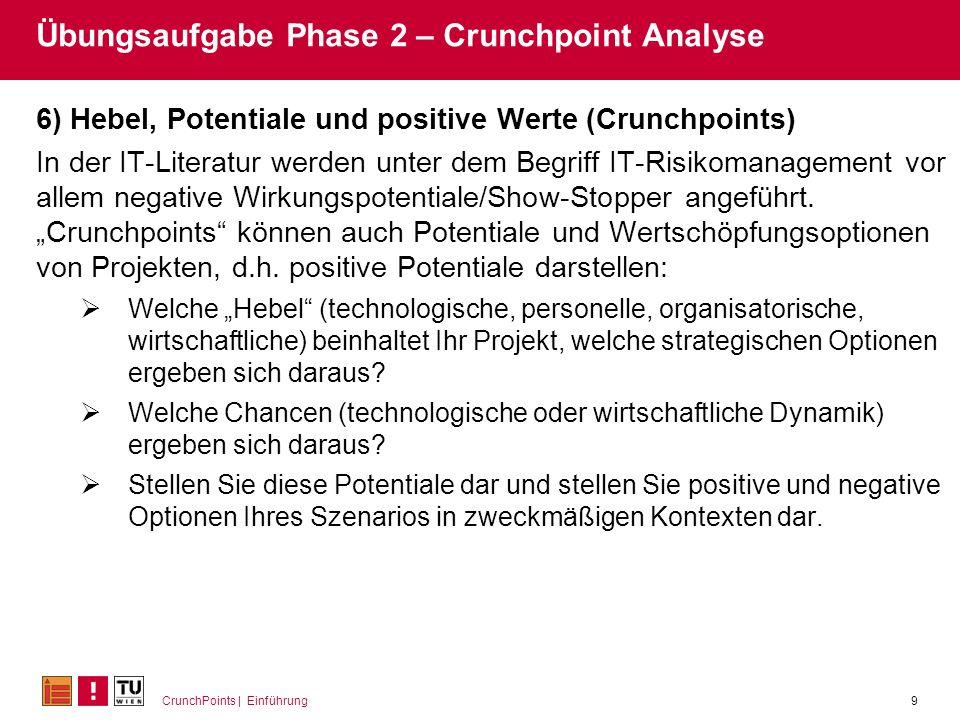 CrunchPoints | Einführung9 Übungsaufgabe Phase 2 – Crunchpoint Analyse 6) Hebel, Potentiale und positive Werte (Crunchpoints) In der IT-Literatur werd