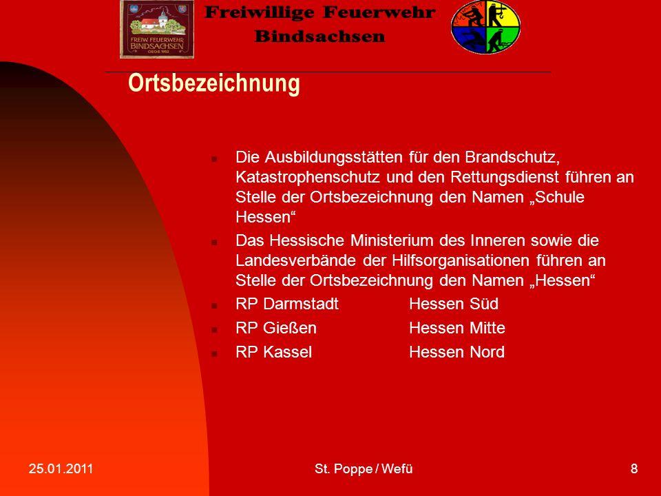 25.01.2011St.Poppe / Wefü9 Standortkennzahl Wir sind die Gemeinde Kefenrod, also FLORIAN KEFENROD.