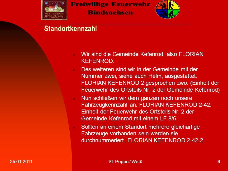 25.01.2011St. Poppe / Wefü9 Standortkennzahl Wir sind die Gemeinde Kefenrod, also FLORIAN KEFENROD.