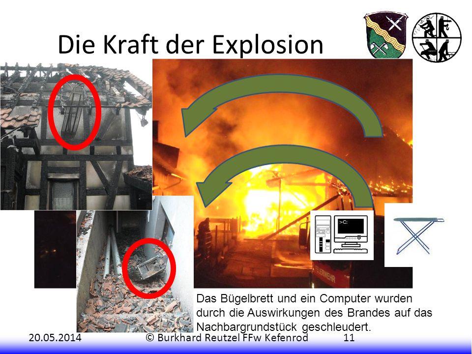 20.05.2014© Burkhard Reutzel FFw Kefenrod11 Die Kraft der Explosion Das Bügelbrett und ein Computer wurden durch die Auswirkungen des Brandes auf das