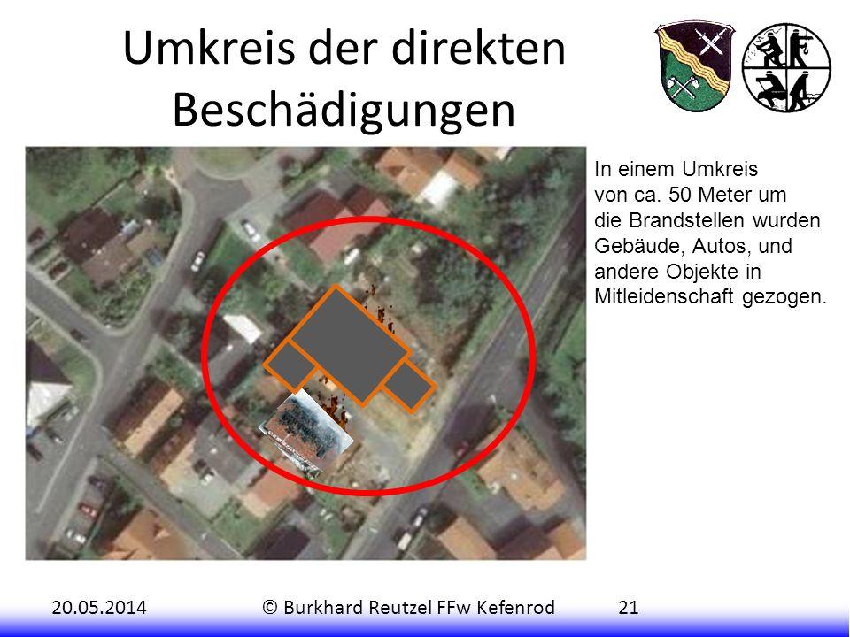 20.05.2014© Burkhard Reutzel FFw Kefenrod21 Umkreis der direkten Beschädigungen In einem Umkreis von ca. 50 Meter um die Brandstellen wurden Gebäude,