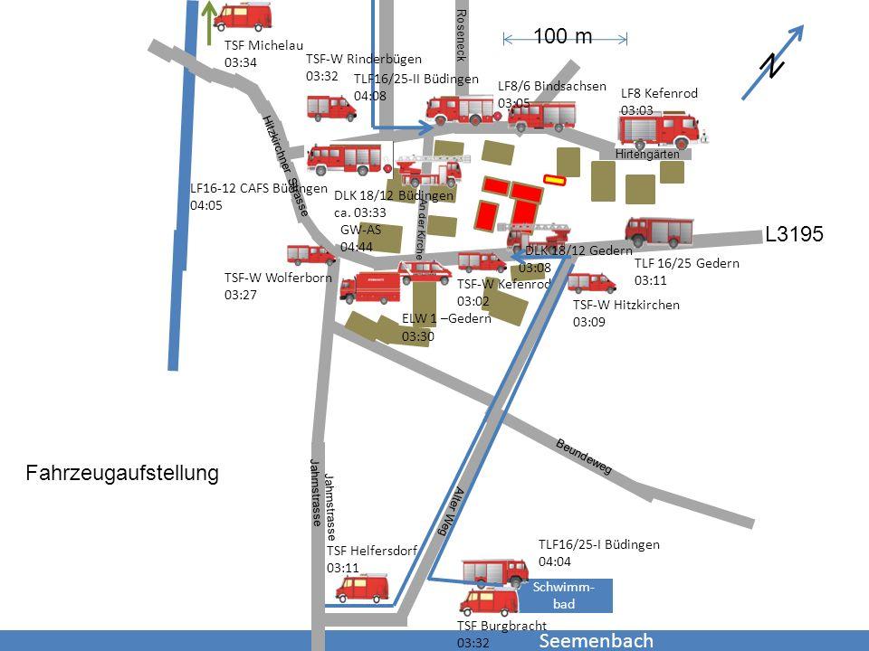 Seemenbach Schwimm- bad TSF-W Kefenrod 03:02 TLF 16/25 Gedern 03:11 DLK 18/12 Gedern 03:08 DLK 18/12 Büdingen ca. 03:33 ELW 1 –Gedern 03:30 TSF-W Wolf