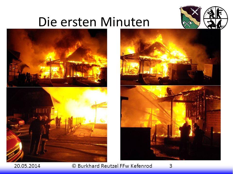 20.05.2014© Burkhard Reutzel FFw Kefenrod3 Das erste Fahrzeug (TSF-W) rückte aus, um von der Vorderseite (Hitzkirchener Straße) den Brand zu bekämpfen