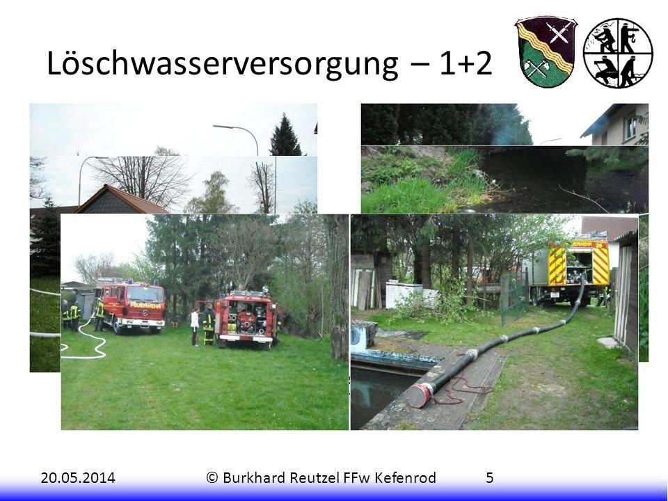 20.05.2014© Burkhard Reutzel FFw Kefenrod5 Löschwasserversorgung – 1+2 Die nachrückenden Kräfte aus Hitzkirchen (TSF-W), Helfersdorf (TSF) und Burgbra