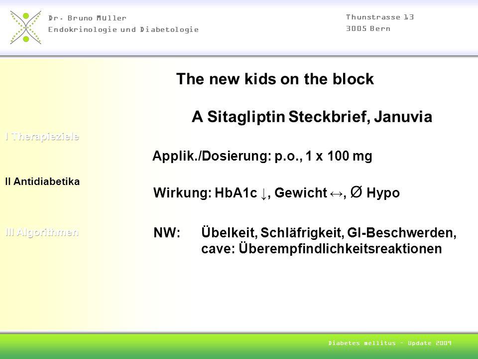 Dr. Bruno Müller Endokrinologie und Diabetologie Thunstrasse 13 3005 Bern Diabetes mellitus – Update 2009 II Antidiabetika A Sitagliptin Steckbrief, J