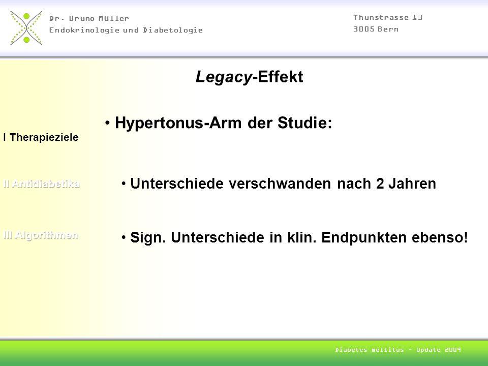 Dr. Bruno Müller Endokrinologie und Diabetologie Thunstrasse 13 3005 Bern Diabetes mellitus – Update 2009 I Therapieziele Hypertonus-Arm der Studie: L