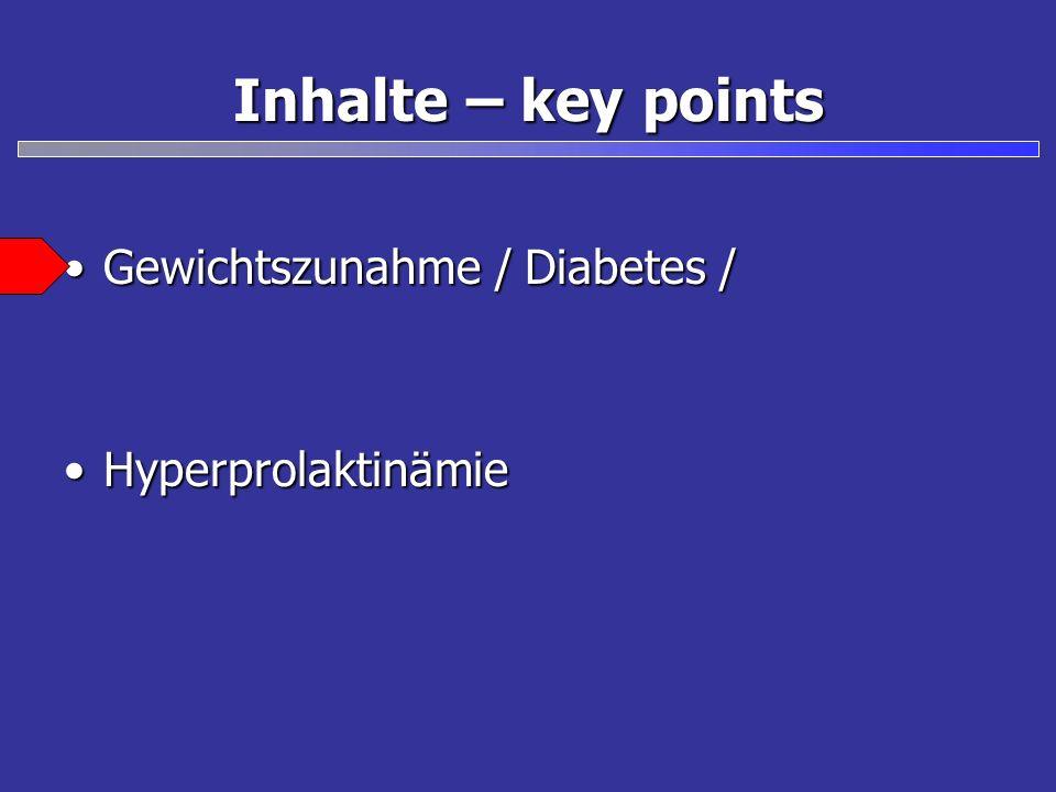 Inhalte – key points Gewichtszunahme / Diabetes /Gewichtszunahme / Diabetes / HyperprolaktinämieHyperprolaktinämie