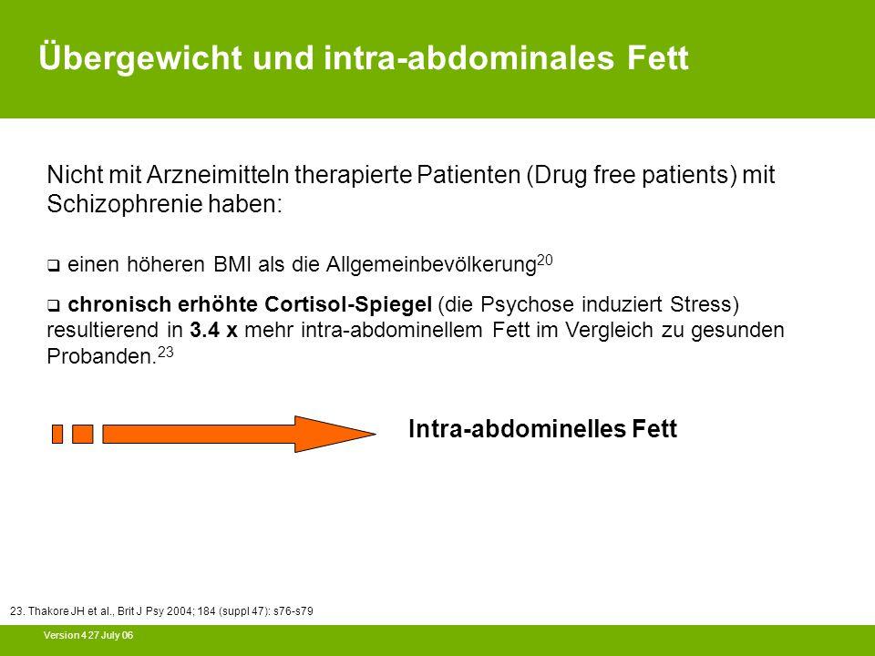 Version 4 27 July 06 Nicht mit Arzneimitteln therapierte Patienten (Drug free patients) mit Schizophrenie haben: einen höheren BMI als die Allgemeinbe
