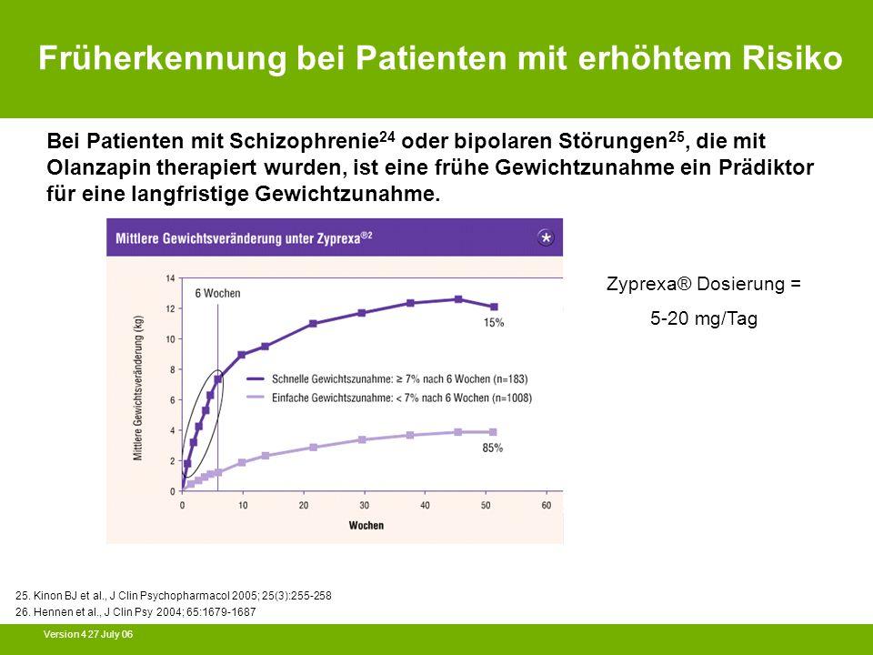 Version 4 27 July 06 25. Kinon BJ et al., J Clin Psychopharmacol 2005; 25(3):255-258 26. Hennen et al., J Clin Psy 2004; 65:1679-1687 Bei Patienten mi