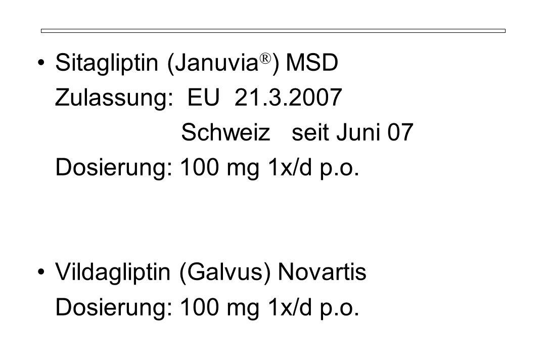 Sitagliptin (Januvia ® ) MSD Zulassung: EU 21.3.2007 Schweiz seit Juni 07 Dosierung: 100 mg 1x/d p.o. Vildagliptin (Galvus) Novartis Dosierung: 100 mg