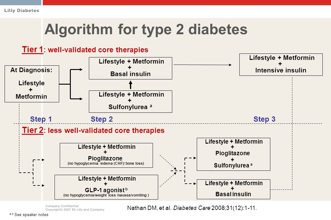 At Diagnosis: Lifestyle + Metformin Lifestyle + Metformin + Basal insulin Lifestyle + Metformin + Sulfonylurea a Lifestyle + Metformin + Intensive insulin Step 1Step 2Step 3 Lifestyle + Metformin + Pioglitazone (no hypoglycemia /edema (CHF)/ bone loss) Tier 1 : well-validated core therapies Tier 2 : less well-validated core therapies Lifestyle + Metformin + GLP-1 agonist b (no hypoglycemia/weight loss /nausea/vomiting ) Lifestyle + Metformin + Pioglitazone + Sulfonylurea a Lifestyle + Metformin + Basal insulin Algorithm for type 2 diabetes Nathan DM, et al.